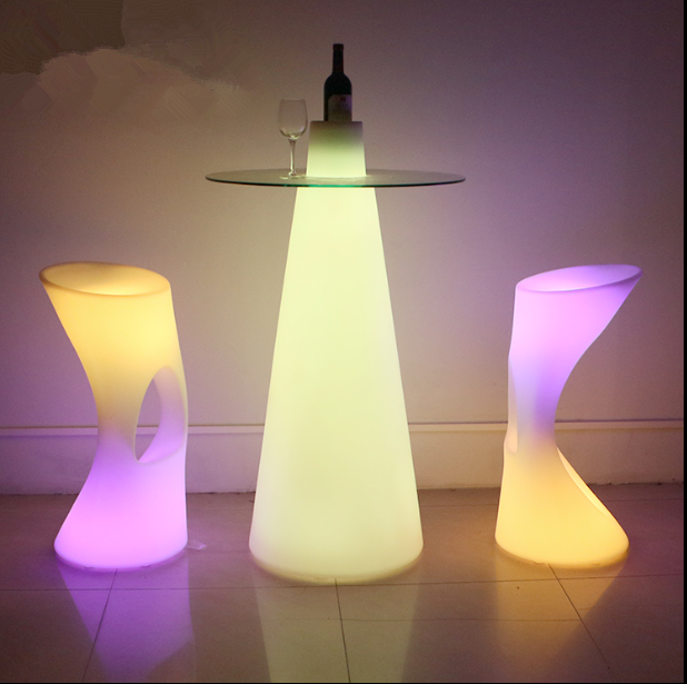 outdoor illuminated LED Glass Top Cocktail Table